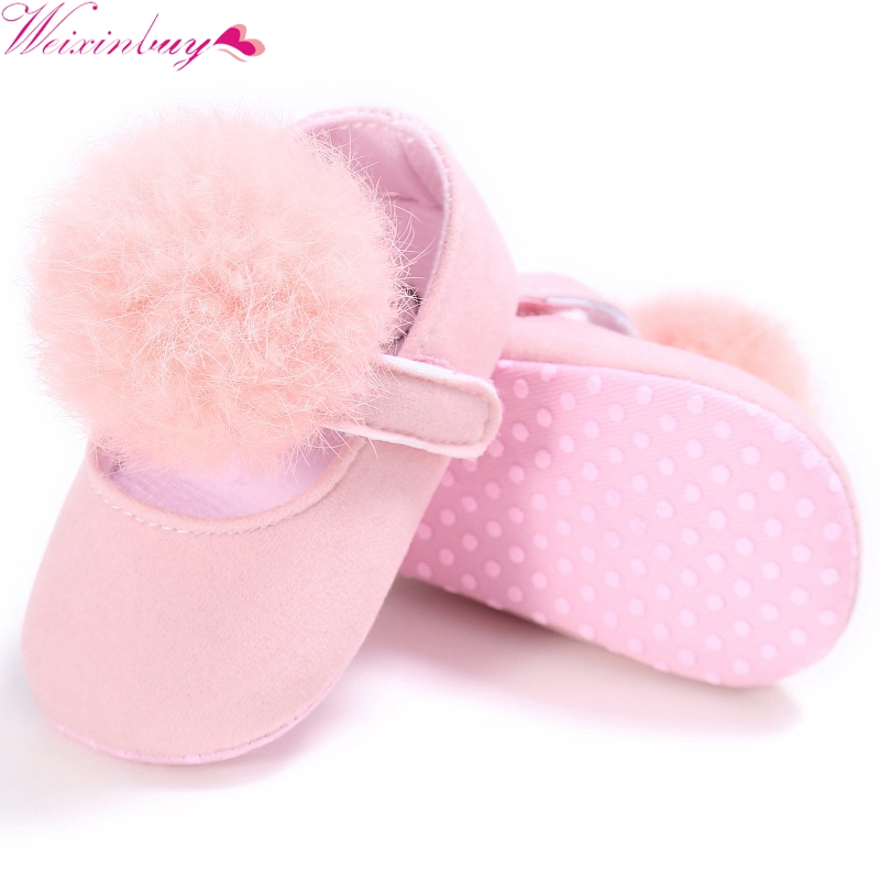 WEIXINBUY Baby Shoes Sweet Infant Toddler Prewalkers Girl Princess Hair Ball First Walkers Pram Crib Bebe Shoes Mary Jane 2