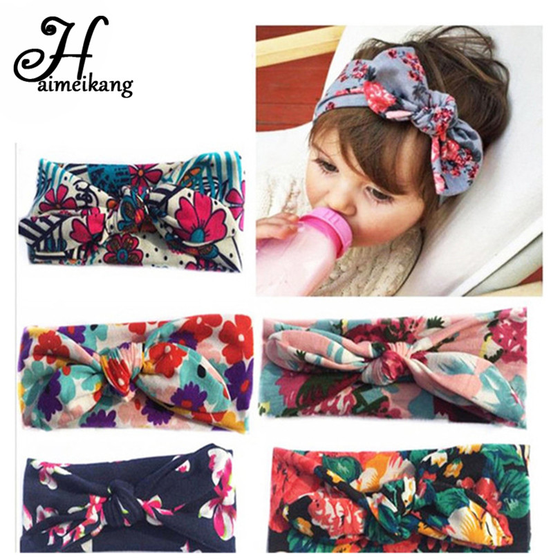haimeikang Bohemia Floral Elastic  Hair Ties Headband Kind Baby Children Turbante Hair Accessories Bandage on a Head for Girls metting joura vintage bohemian ethnic tribal flower print stone handmade elastic headband hair band design hair accessories