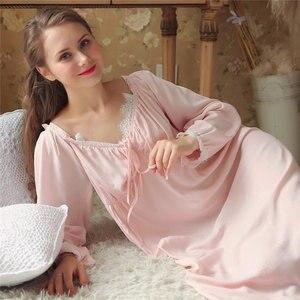 Image 2 - Dài Bông Trắng Cổ V Gợi Cảm Ngủ Đêm Áo Mặc Nhà Vintage Váy Ngủ Công Chúa Đồ Ngủ 2020 Nữ Váy Ngủ T350