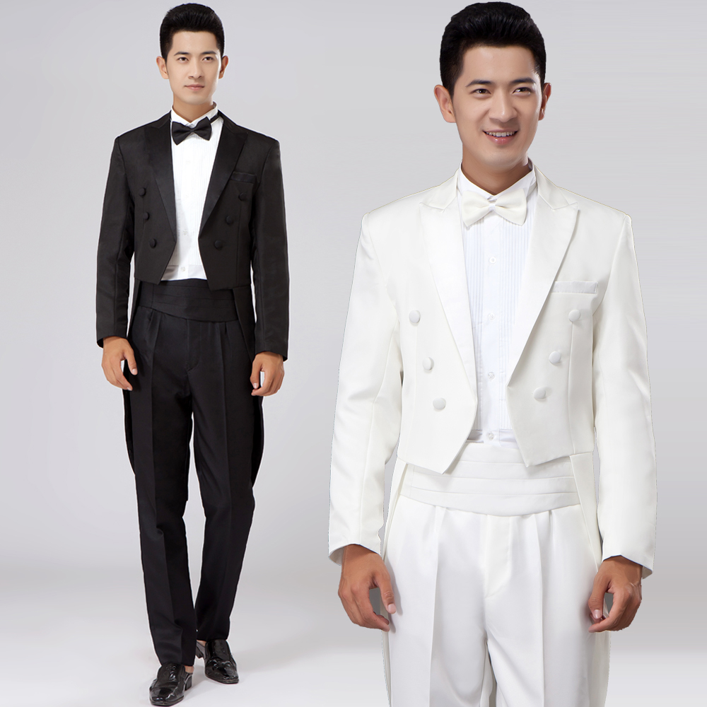 Black White Men Suits Jacket Pants Set Wedding Prom Groom Dancer Singer Dress Performance Show Clothing Outdoors Slim Wear In Suits From Men S Clothing Accessories,Casual Outdoor Wedding Dress Ideas