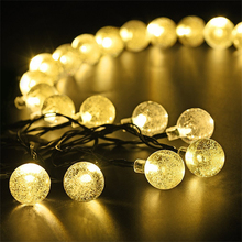 Solar 30LED Air Bubble Beads String Lights Led Round Crystal Ball Decorative Lighting Outdoor Garden Light
