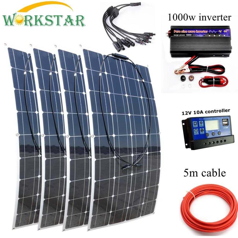 WORKSTAR 4*100 W paneles solares flexibles 12 V 12 V Cargador Solar para RV/barco coche Solar de 400 w poder principiante al aire libre Cargador Solar