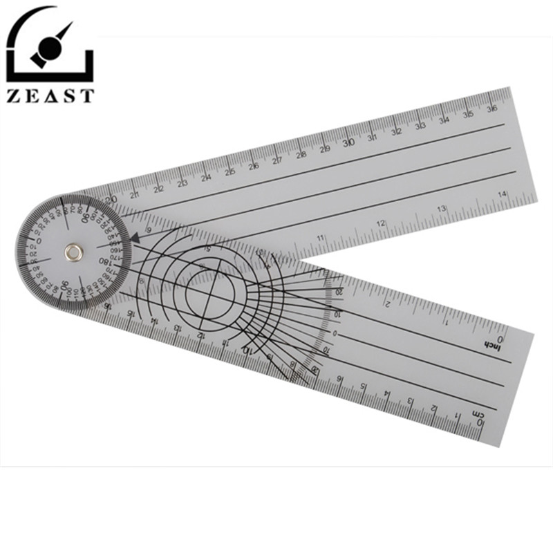 Professional Multi-Ruler 360 Degree Goniometer Angle Spinal Ruler Cm/inch PVC