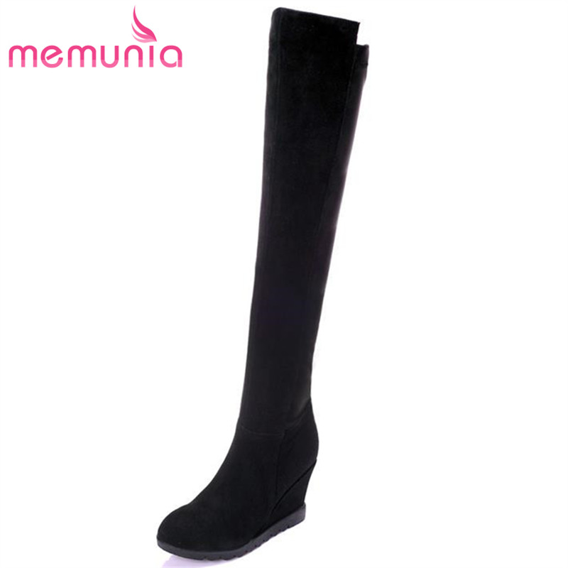 ФОТО MEMUNIA Height increasing wedges high heels nubuck leather boots zip round toe winter elegant black women over the knee boots