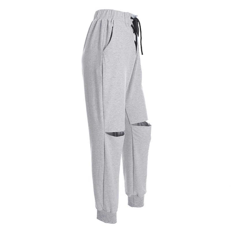 HEYounGIRL выдалбливают повседневные женские брюки шнуровка с высокой талией джоггеры отверстия уличная длинные брюки с Спортивные Брюки с карманами
