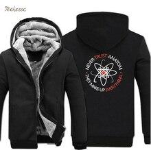 Never Trust an Atom Science Hoodies Mens 2018 Winter Warm Fleece Zipper Sweatshirt Hoodie Men Jackets Plus Size 5XL Sprotswear