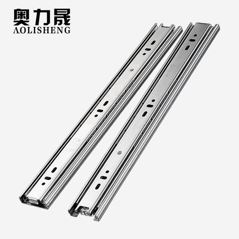 Stainless Steel Drawer slide rail 8 24 Inch Ball Bearing Three Sections Full ExhibitionSlides   -
