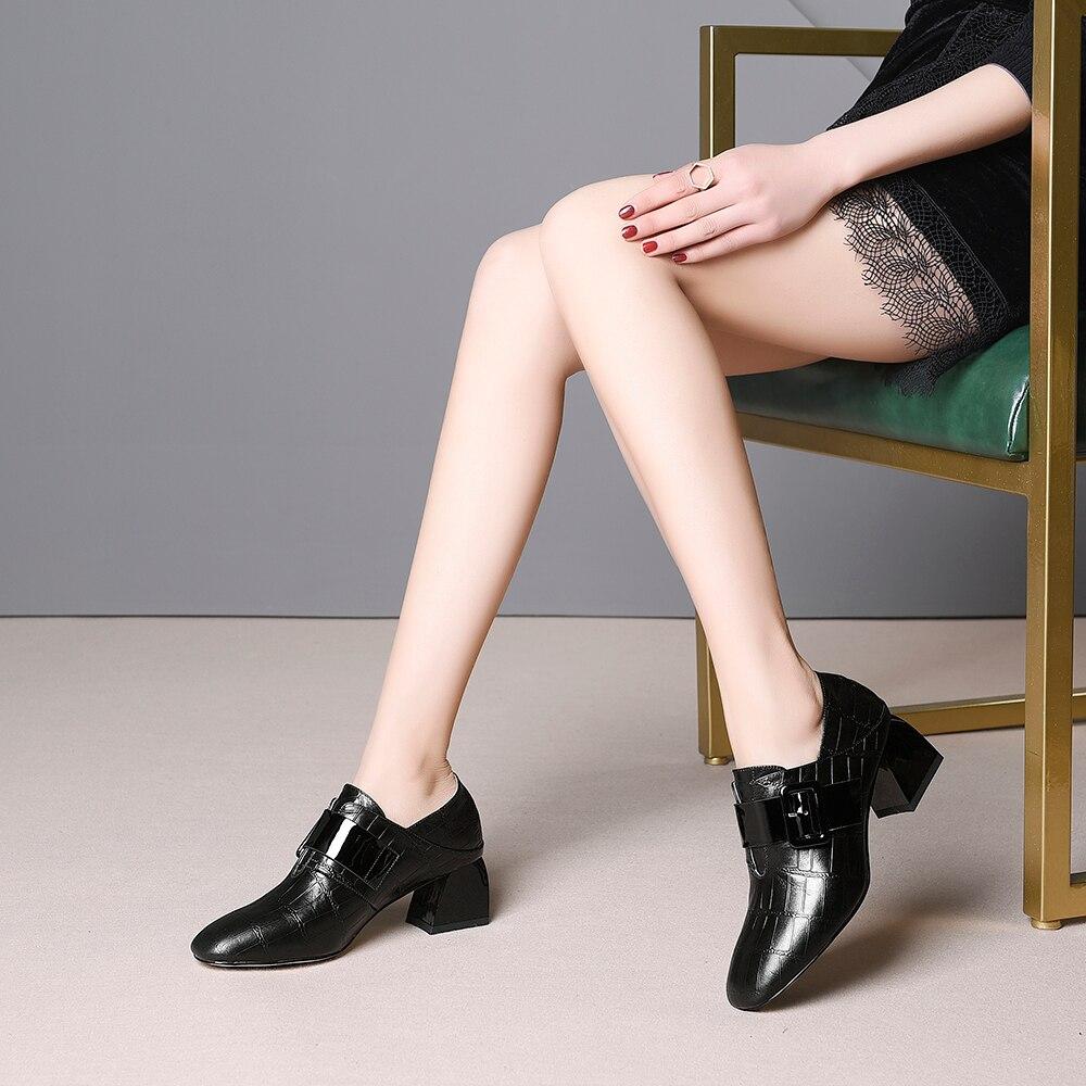 Leepo Wimen Pie Del Mujer Las Mujeres Dedo Bombas Black Tacones Amarillo Zapatos Negro Cuadrado De Primavera orange Fiesta Es Cuero Genuino raq1w4r6