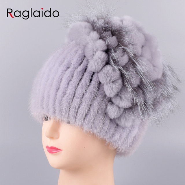 dffc376c95f33 Raglaido Russian Knittd Mink Hats for Women Real Fur Cap with fox fur  decoration Floral Beanies
