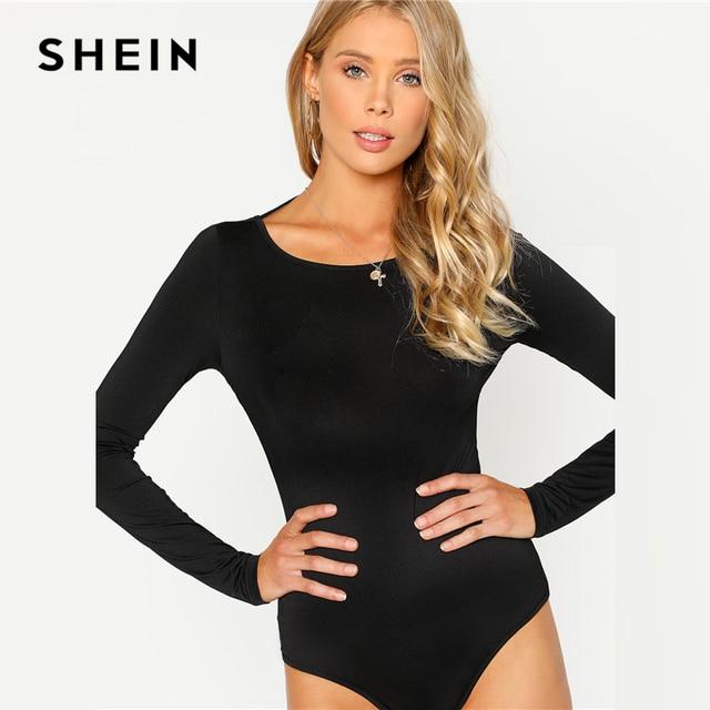SHEIN Black Backless Solid Skinny Bodysuit Round Neck Open Back Long Sleeve Draped Plain Women Rompers 2018 Sexy Bodysuit 2