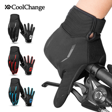 цена на CoolChange Cycling Gloves Winter Thermal Windproof Bicycle Gloves Outdoor Sport MTB Bike Glove Full Finger GEL For Men Women
