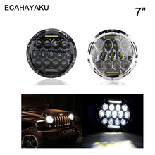 ECAHAYAKU Led Headlight/Headlamp 7 Inch 75W Round Bulb 5D LenS High/Low beam waterproof for Motorcycle Jeep JK Land Rover Harley herorider 75w 7 headlight motorcycle black high low beam 7inch round daymaker led head light head lamp drl for harley davidson