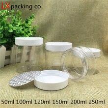 30 PCS Freies Verschiffen 50 80 100 150 200 250 ML Klare Kunststoff Verpackung Flaschen Weiß Deckel Gewürz Container Hochzeit candy Bank