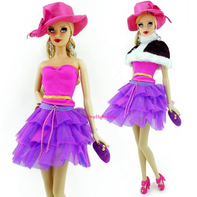Novo estilo Original boneca princesa roupa Casual vestido + sapato + saco +  chapéu para boneca 1964c791bcf