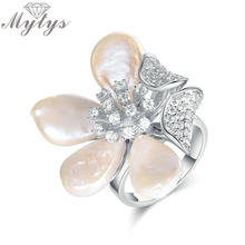 Mytys Fashion Flower Ring High Quality Romantic Jewelry Gift for Women Austrian Crystal Irregular Freshwater Pearl Petal R1891(China)