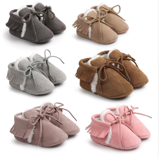 Winter New Suede Leather Baby Boots Fashion Tassels Baby Moccasins Warm Snow Boots Infant Toddler Shoes First Walkers