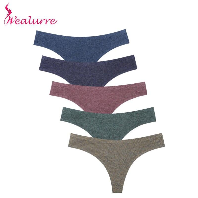 Wealurre Dames Sexi Taille Basse Tanga Femelle Invisible Sous-Vêtements Femmes Seamless Culotte String Coton Mémoires G Chaîne Lingerie