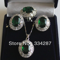 6 colour !10X14MM Green/Blue/Yellow/Pink/Purple/Brown CZ Stud earring Pendant Ring Jewelry Set