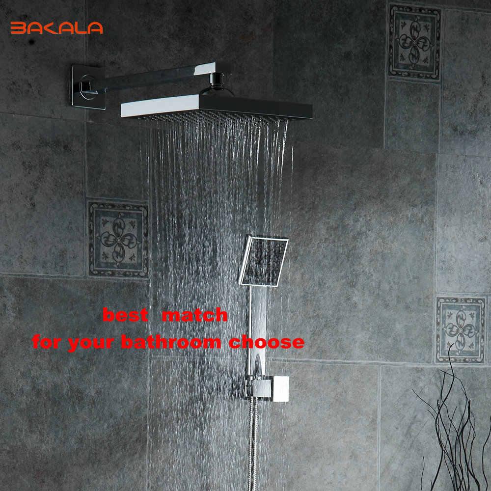 Bakala 8 polegada banheiro chuveiro de chuva torneiras preto abs cabeça chuveiro chuveiro mão para banho sistema 2