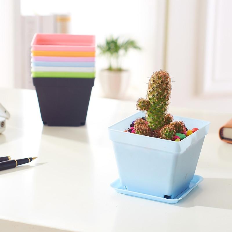 6 stks kleurrijke plastic kwekerij potten grote maat desktop floor - Tuinbenodigdheden