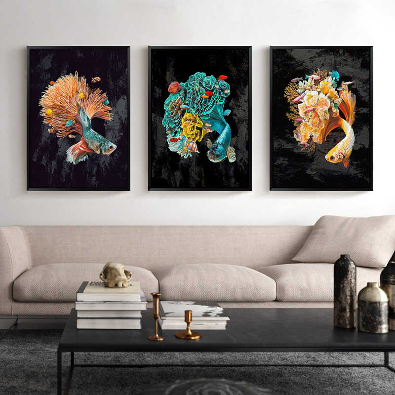 Chinese Modern Green Red Yellow Watch Fish Oil Painting Canvas Posters and Print Home Living Room Sofa Decoration Wall Picture