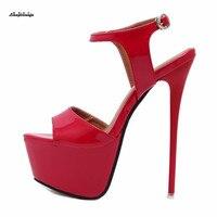 Wedding Stiletto Plus:34 45 46 Sandalen women Ankle Strap Sandals Sexy 17cm High thin heels zapatos mujer platforms Sandals pump