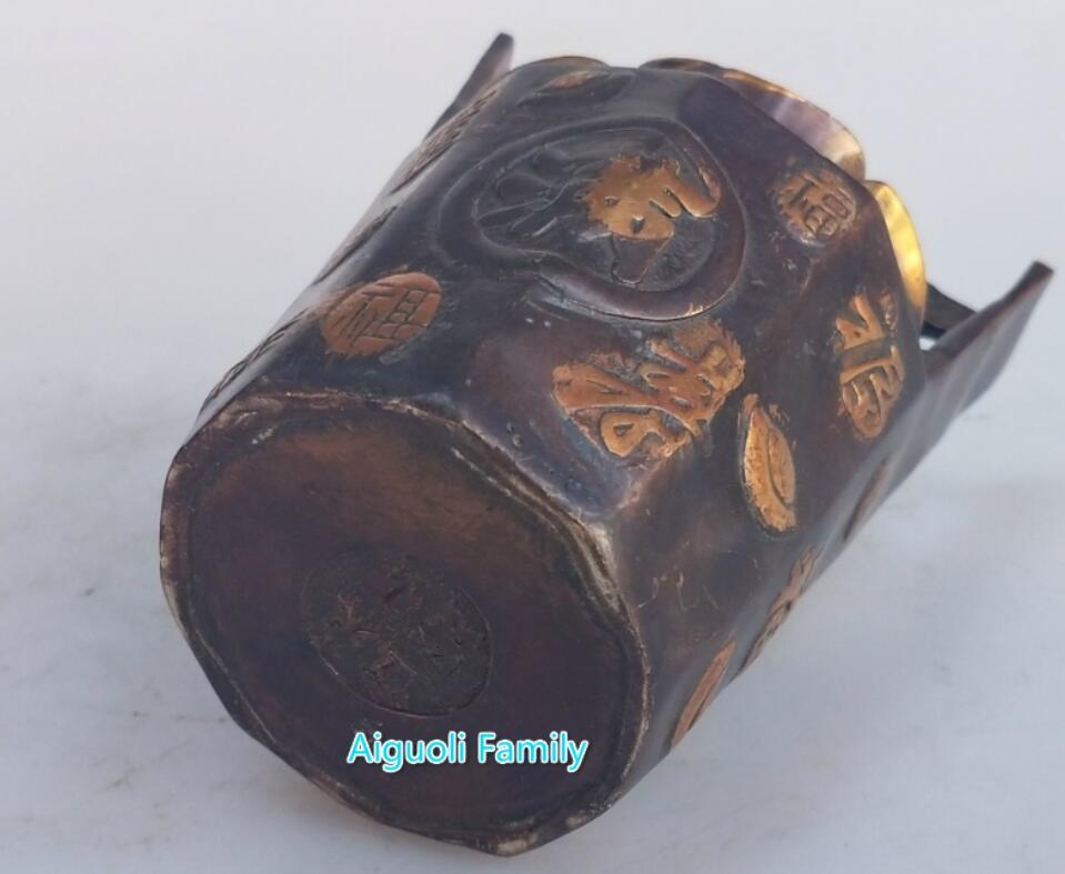 Un seau de lingots d'or métal artisanat plaqué or rouge cuivre statue Feng Shui maison laiton sculpture objets de collection décoratifs - 4