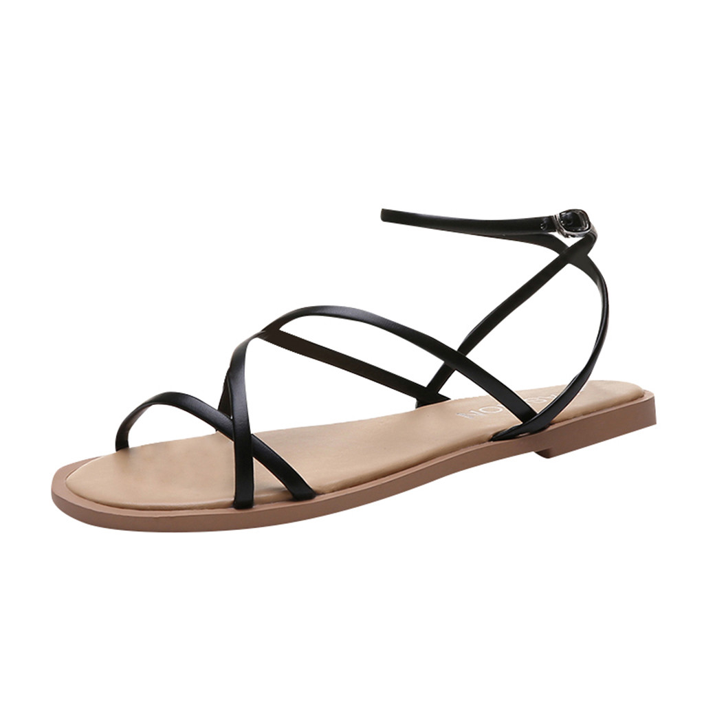 JAYCOSIN 2019 Summer Shoes 2019 Womens Flat With Cross Straps Open Toe Sandals Fashion Hollow Elastic Slippers Flat SandalsJAYCOSIN 2019 Summer Shoes 2019 Womens Flat With Cross Straps Open Toe Sandals Fashion Hollow Elastic Slippers Flat Sandals