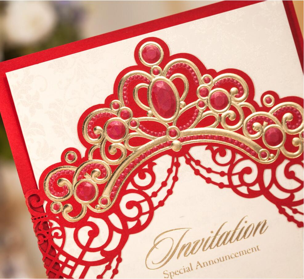 Aliexpress.com : Buy Red crown wedding invitations card, printable ...