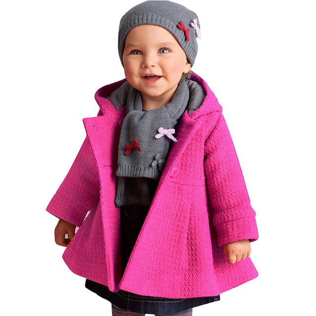2017 Baby Girls Jacket Autumn Winter  Hooded Coat Kawaii Cardigan Wool Thick Warm Children Outerwear Baby Girl Clothes Pink/Red
