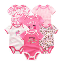Kiddiezoom Baby Girls Romper 6 PCS/lot Short Sleeve Floral Animals Print Summer Clothing Set For 0-12M Letter Pattern(China)