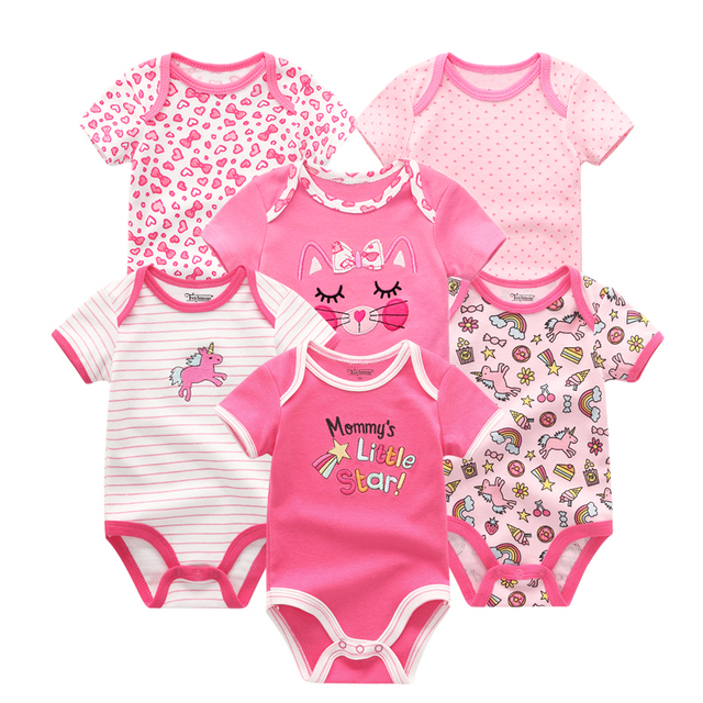 81014424a Kidizoom Baby Girls Romper 6 unids/lote manga corta Floral imprimir verano  ropa Set para