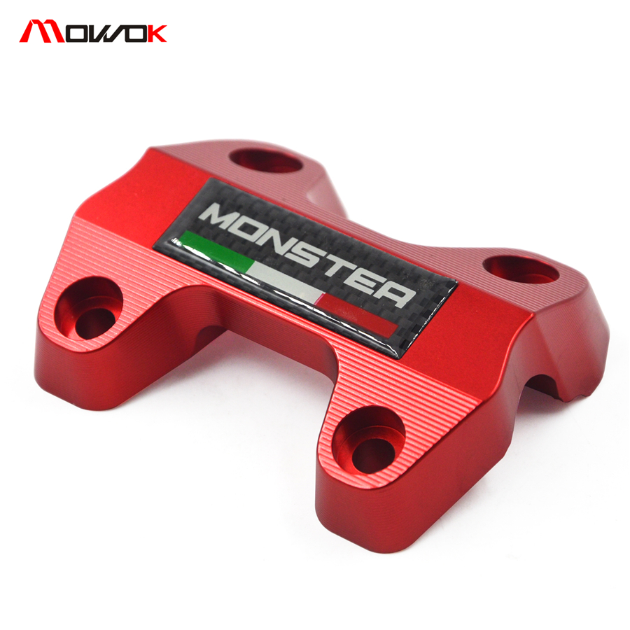 Motorcycle Accessories CNC Aluminum Handlebar Risers Top Cover Clamp For DUCATI MONSTER 821 2013 2014 2015