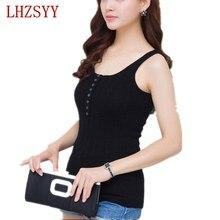 2017 Women Slim Knitted Vest Round Collar Tight Soft Vest Fashion New Outside wear Underwear can