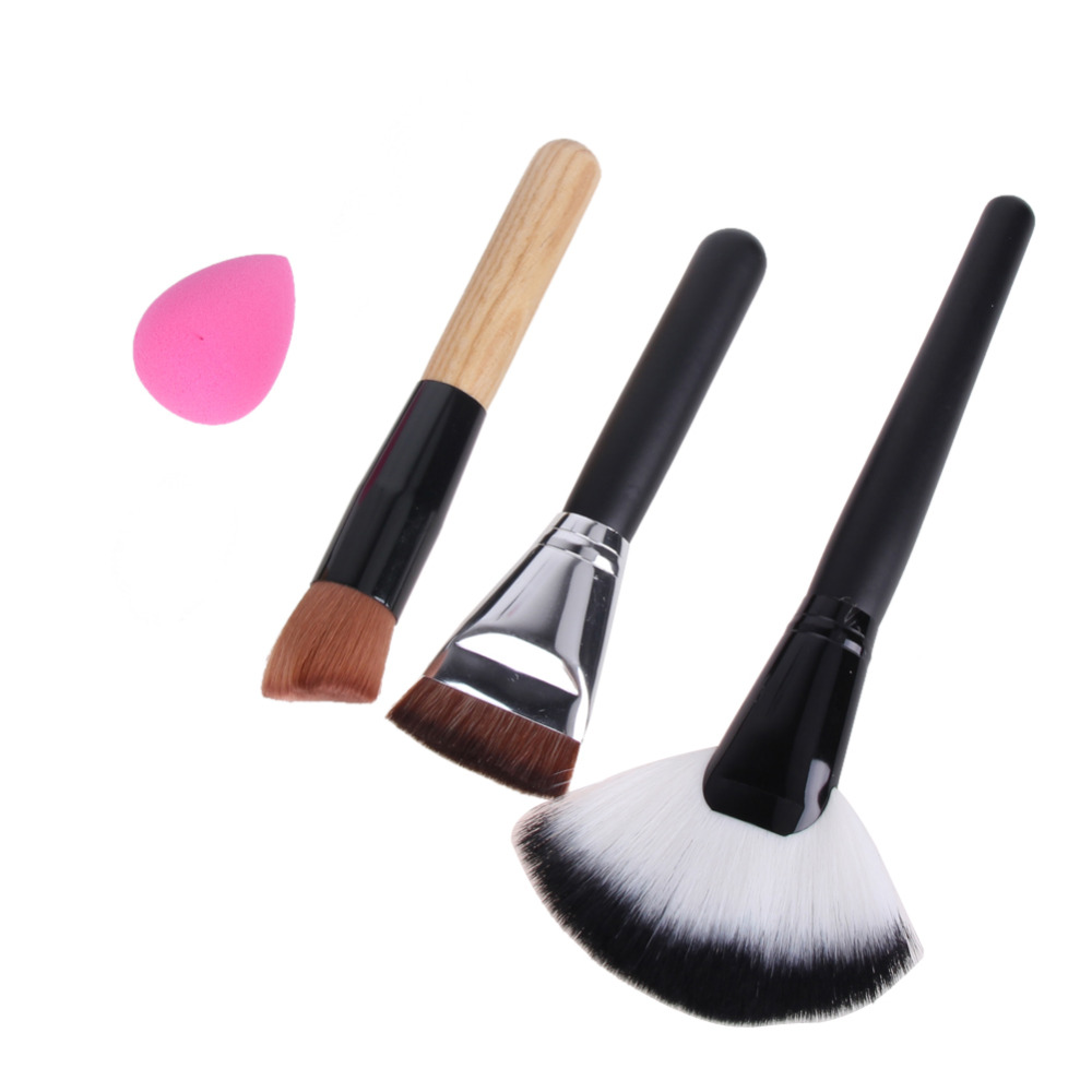 4 PCS/Set Makeup Powder Blush Foundation Brush Pincel Maquiagem+Sponge Puff Large Fan Contour Cosmetic Brush Make Up Brushes Kit professional 12pcs makeup brush set powder foundation eyeshadow blush make up brushes cosmetic brush beauty pincel maquiagem