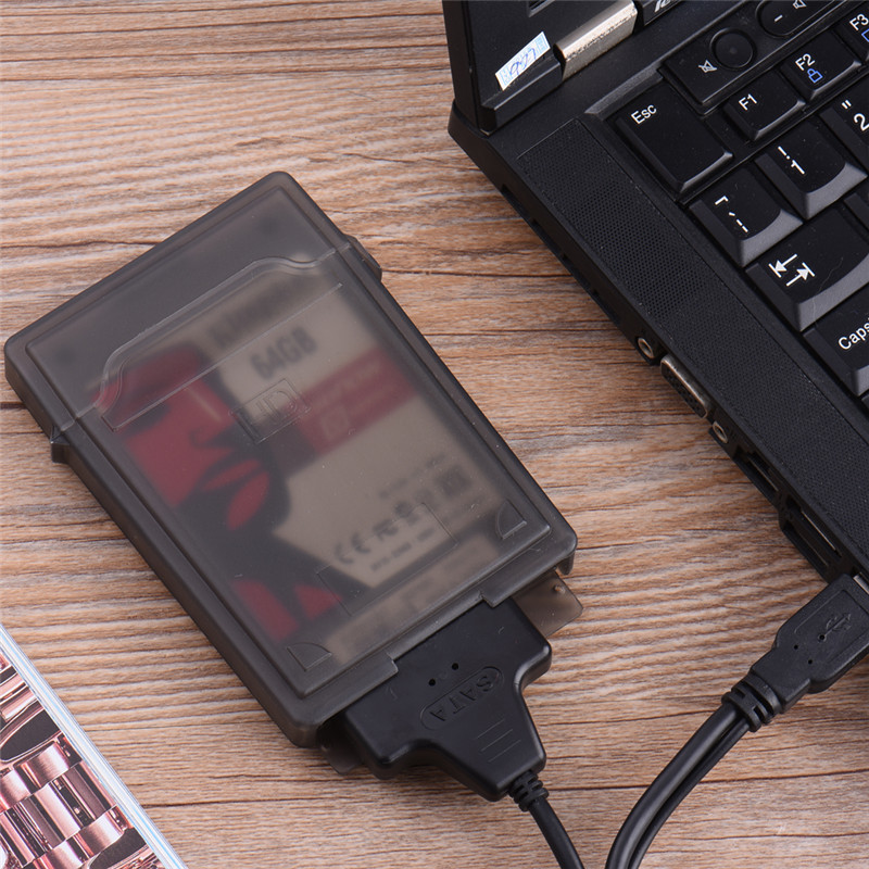2.5inch Hd Externo Flash Drive Case USB 2.0 To SATA Easy To Drive Line USB Hard Disk Cable External Hard Disk Drive Cover Black