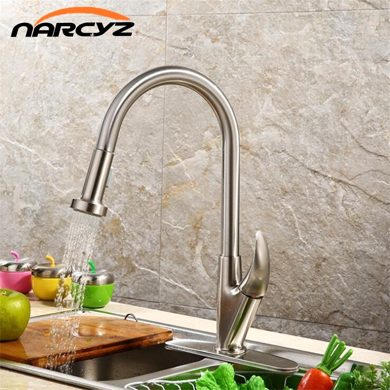 Single Handle Kitchen Faucet Mixer Pull Out Kitchen Tap Single Hole Water Tap Cold and Hot Water Mixer torneira cozinha XT-58 modern kitchen sink faucet mixer chrome finish kitchen double sprayer pull out water tap torneira cozinha rotate hot cold tap