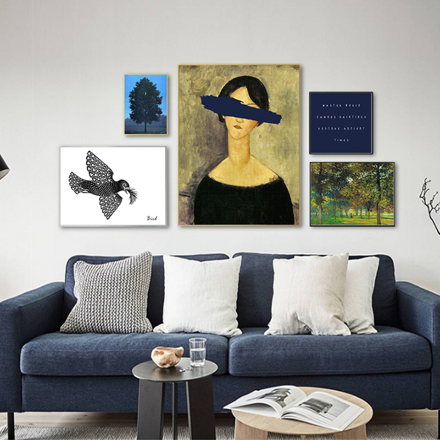 Europe Vintage Prints Abstract Figure Canvas Paintings POP Wall Art