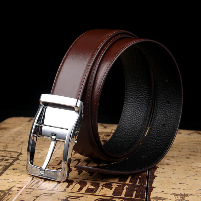 Genuine Pure Leather Formal Belt For Men With Reverible Rotative Buckle