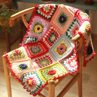 Handmade flower sofa crochet blanket cushion felt pastoral style with flower