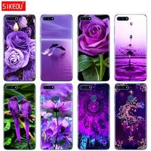 Силиконовый чехол для телефона для huawei Honor 7A PRO 7C Y5 Y6 Y7 Y9 2017 2018 премьер Бесконечность на фиолетовый