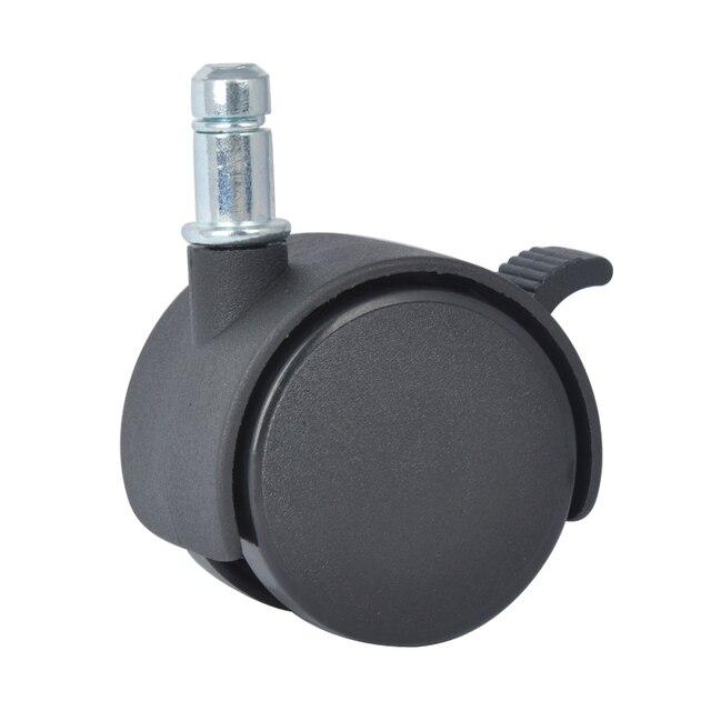 4pcs Edl 50mm 25kg Pa Nylon Wheels Castors Stem Ring Brake Locking Roller Rotation Furniture Casters