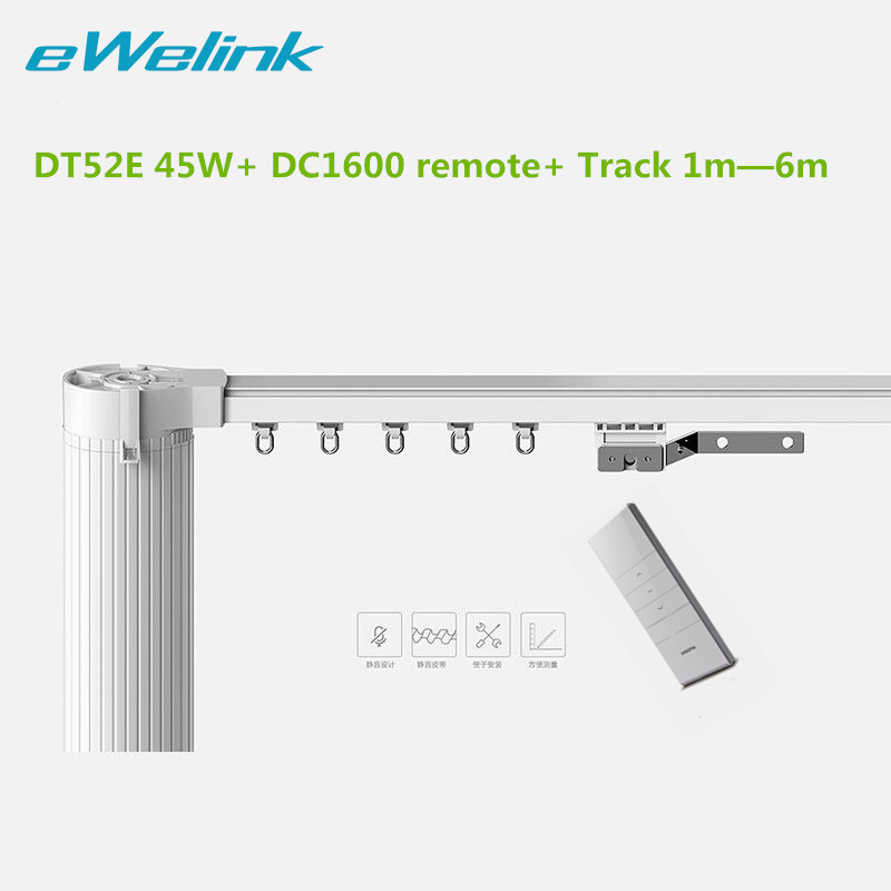 Dooya Electric Curtain System Curtain Motor DT52E 45w+ Remote Control+Motorized Aluminium Curtain Rail Tracks 1m-6m ewelink dooya electric curtain system curtain motor dt52e 45w remote control motorized aluminium curtain rail tracks 1m 6m