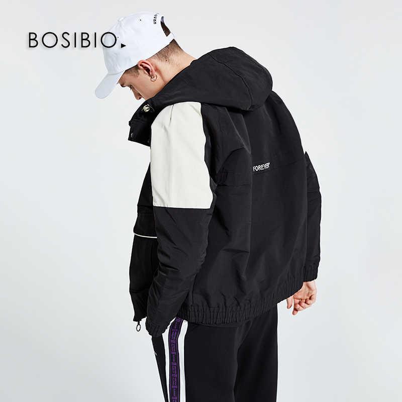 BOSIBIO повседневные мужские пальто и куртки весна хаки Мужская Новая Лоскутная куртка с капюшоном высокое качество тонкие куртки 196032