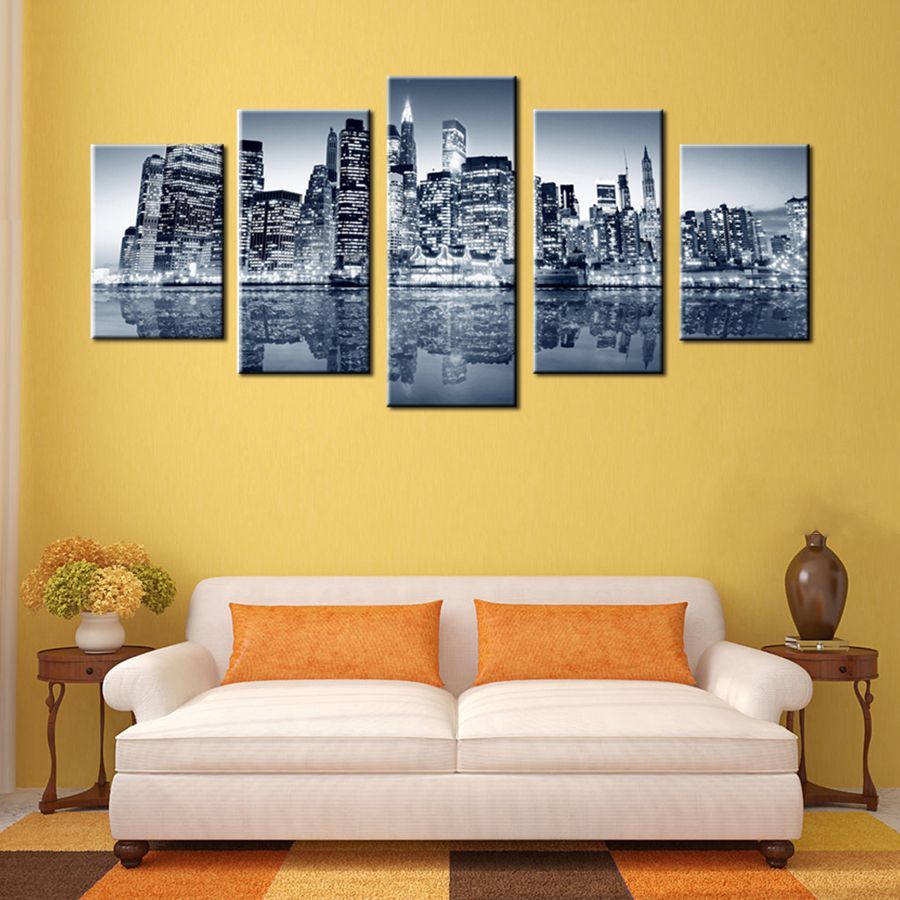 New York City Landscape Dark Night Wall Art Picture Home Decoration ...