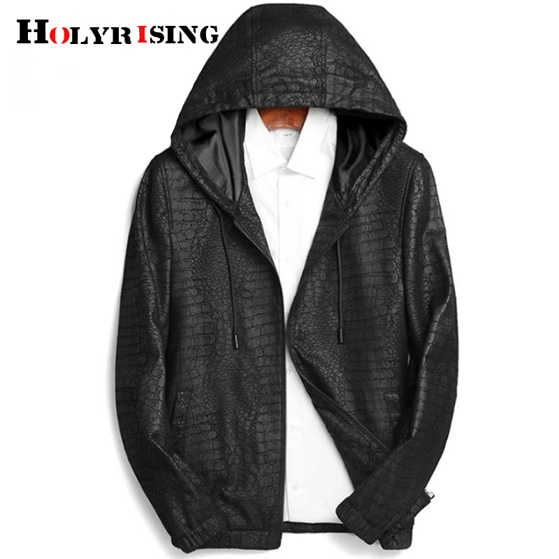 Holyrising Sheepskin leather men Hood Natural Genuine Leather men Fashion Casual motorcycle leather M-3XL 18921-5(China)