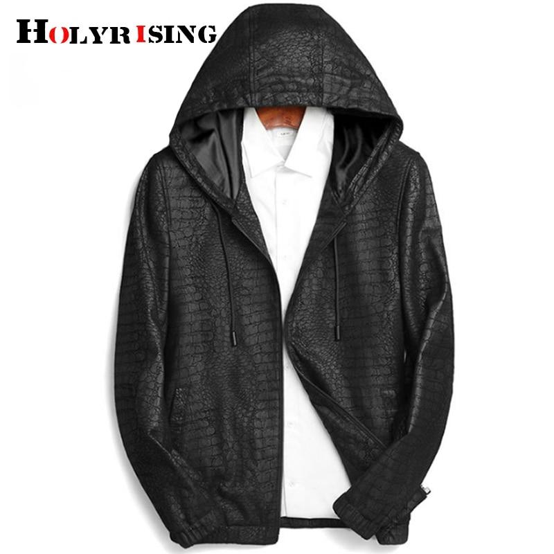Holyrising Sheepskin leather men Hood Natural Genuine Leather men Fashion Casual motorcycle leather M-3XL 18921-5(China)