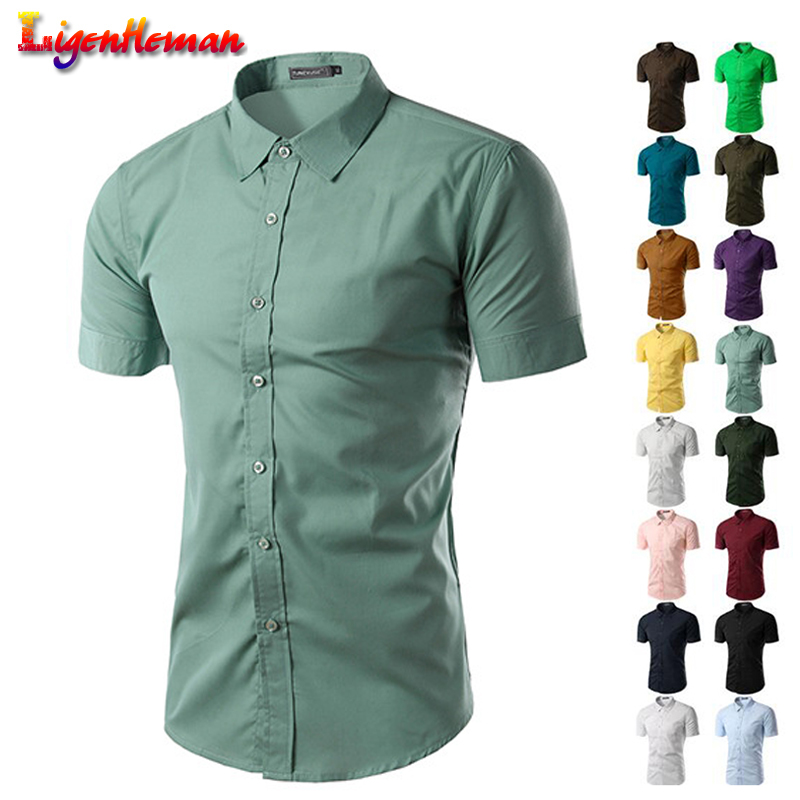 Summer Men's  Fashion Leisure Slim Fit Short Sleeve Shirt New 2019 Masculina Chemise Homme Mens Solid Color Business Shirts