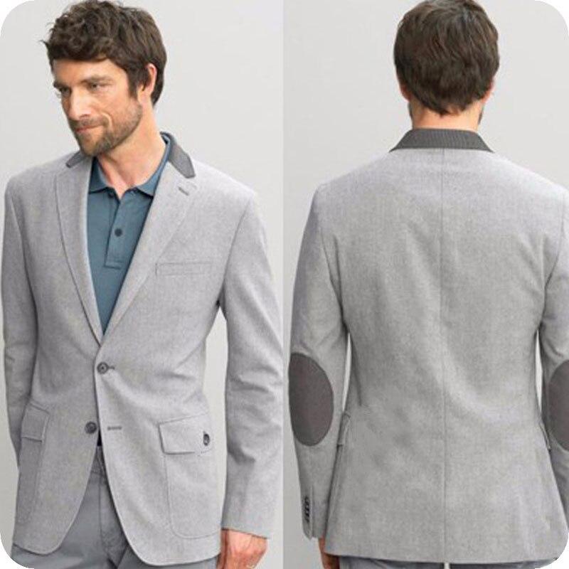 Coude Patch dernier manteau pantalon conceptions gris hommes costumes pour affaires Slim Fit Terno Masculino Prom mâle Blazer 2 pièces veste pantalon