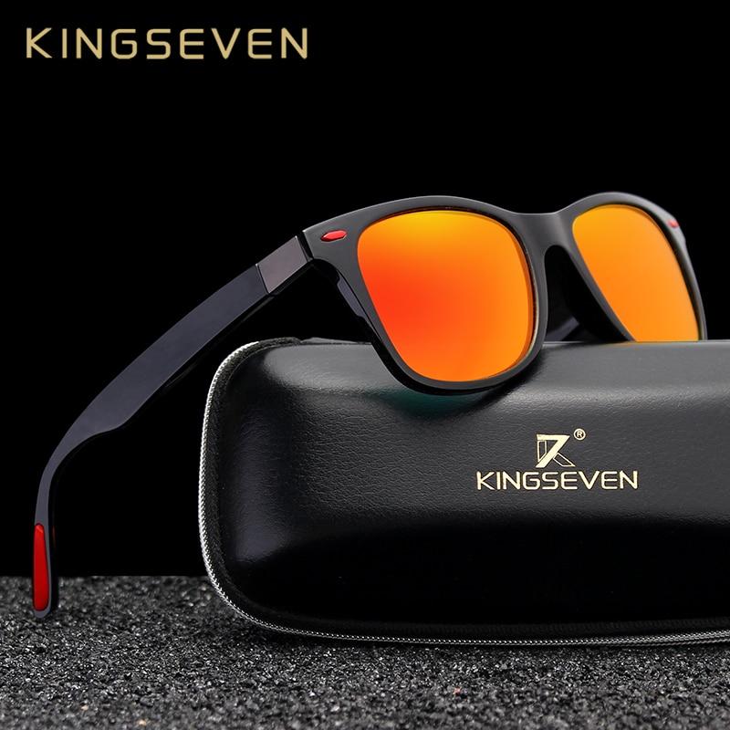 1b2a1b449 Original KINGSEVEN Marca Clássicos Óculos Polarizados Óculos de Sol Das  Mulheres Dos Homens de Condução Óculos de Sol Quadrado Quadro Masculino  UV400 Goggle ...